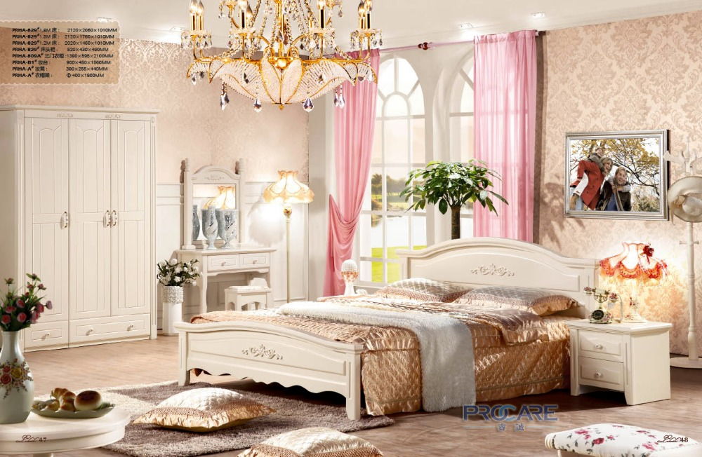 Foshan Shunde Furniture European Style Bedroom Set For Sale With Bed,Beside  Table,3 Doors Wardrobe,Dressing Table,Clothes Stand