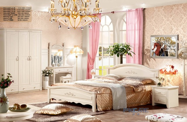 Foshan Shunde Furniture European Style Bedroom Set For Sale With Bed,Beside  Table,3