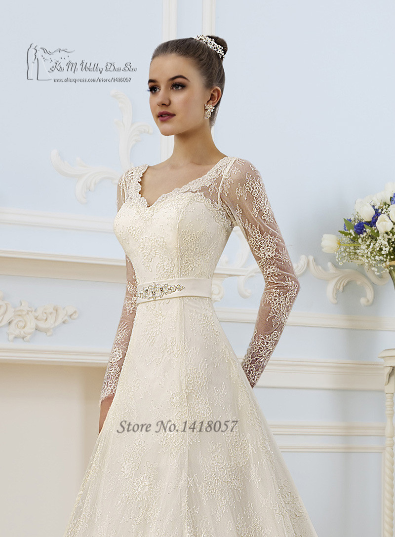 Vintage Ivory Spring Wedding Dress Long Sleeve Lace Gowns A Line Bride Dresses Corset Back Vestido De Noiva Renda On Aliexpress Alibaba Group