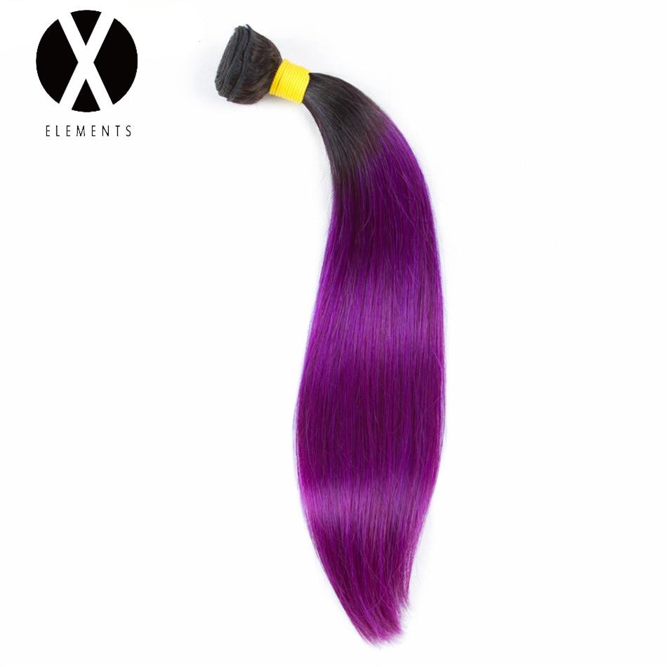 X-Elements Pre-colored Human Hair Bundles T1B/Purple Straight Hair Weaves 1 Bundles Peruvian Non-Remy Hair Extensions