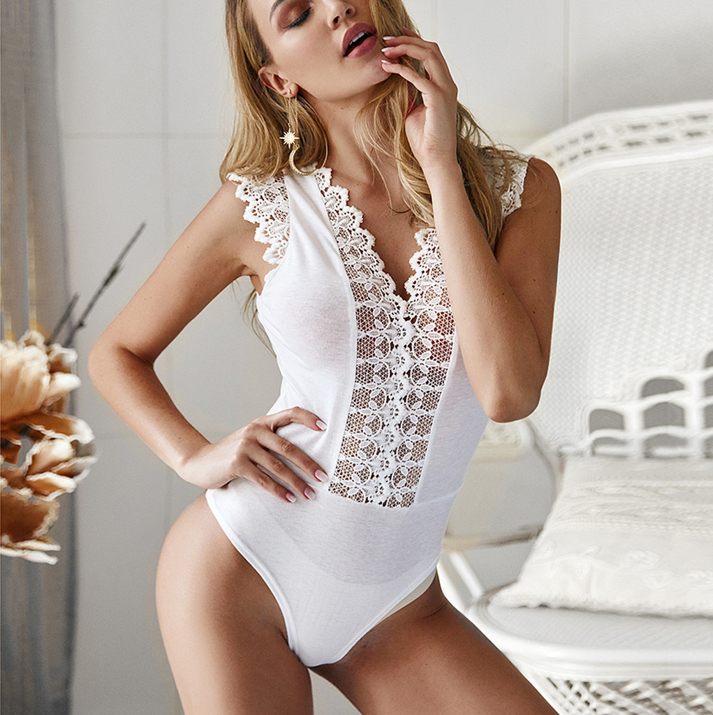 V-neck Lace See-through Sexy Bodysuit Women V Neck Plunge Lace Bodysuits Leotard Tops Sleeveless Jumpsuit Party Body
