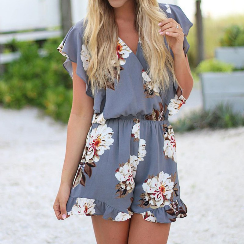 Women   Rompers   Fashion Floral Printed Playsuits 2019 Summer V-neck Short Sleeves Overalls Jumpsuit Female Ruffle Casual Playsuit
