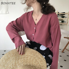 Shirts Women V-Neck Single Breasted Solid Simple All-match Loose Elegant