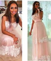 2016 Saudi Arabia Light Pink Evening Dress Custom Made Strapless Bow Lace Applique Floor Length A