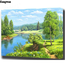 Diamond painting cross stitch forest spring landscape diamond embroidery natural lake tree bead 3d picture of rhinestones Mosaic