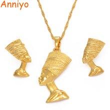 Anniyo египетская Королева Нефертити кулон ожерелье и серьги наборы ювелирных изделий золотой цвет распродажа, золотые украшения подарки#010006