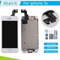 Branco lcd para iphone 5s lcd screen display toque digitador assembléia quadro + home button & câmera frontal + ferramentas + rastreamento
