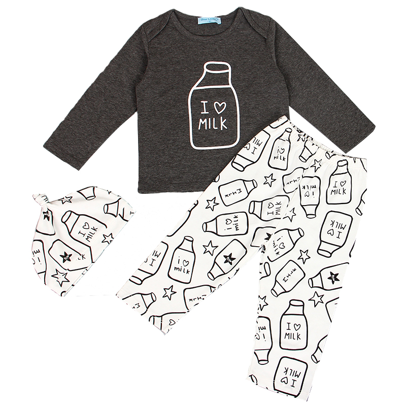 2016 New Fashion Style Baby Girls Boys Clothes Kids Baby Clothing Sets Black Letter T-shirt+Imitation cowboy pants 2pcs suit