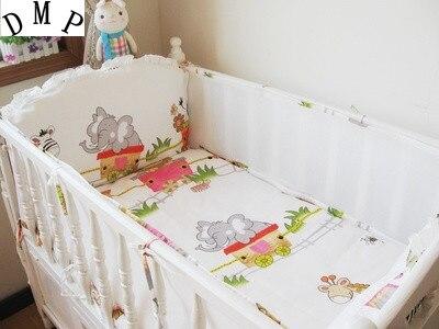 Promotion! 5PCS Baby Bumper Set Baby Crib Bedding Set Cot Set Bed Sheet ,include:(bumper+sheet)