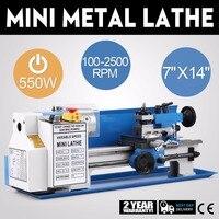 550 w 7x14 Polegada torno de metal 0.75hp 2500 rpm infinitamente variável velocidade do eixo mini torno