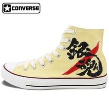 Gintama Anime Mujeres Hombres Converse Chuck Taylor Personalizado Pintado A Mano High Top Zapatos Hombre Mujer Zapatillas de Lona Cosplay Regalos