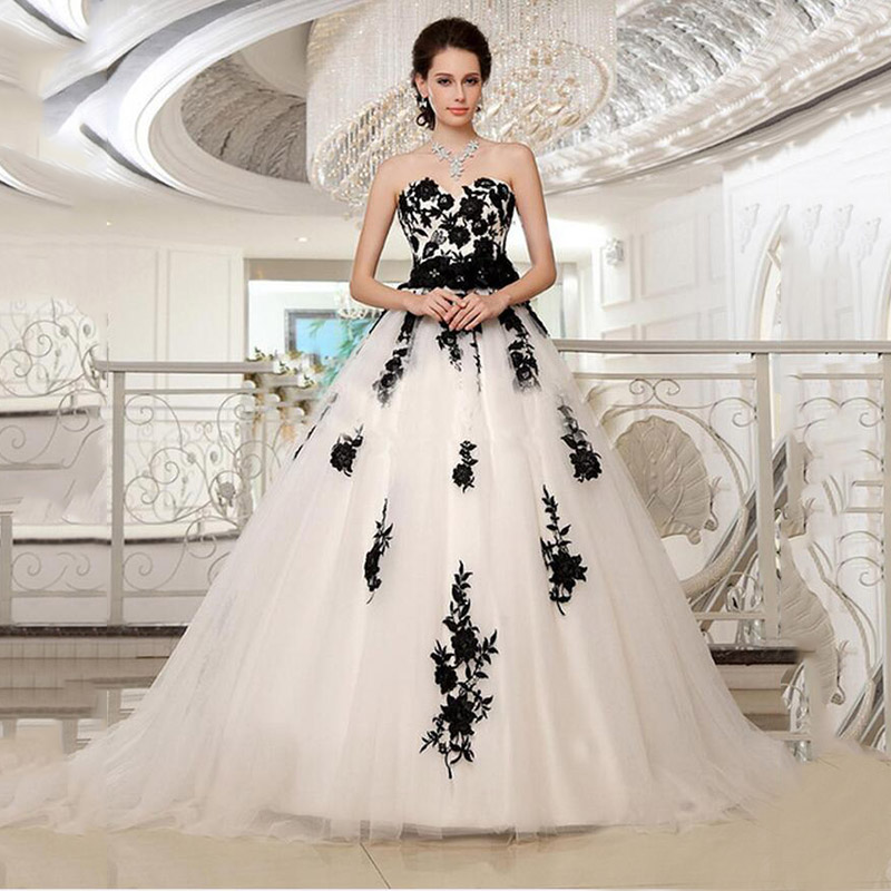 White Wedding Dress With Black Flowers: Hot Vintage Sweetheart Flower Sash Lace A Line White And