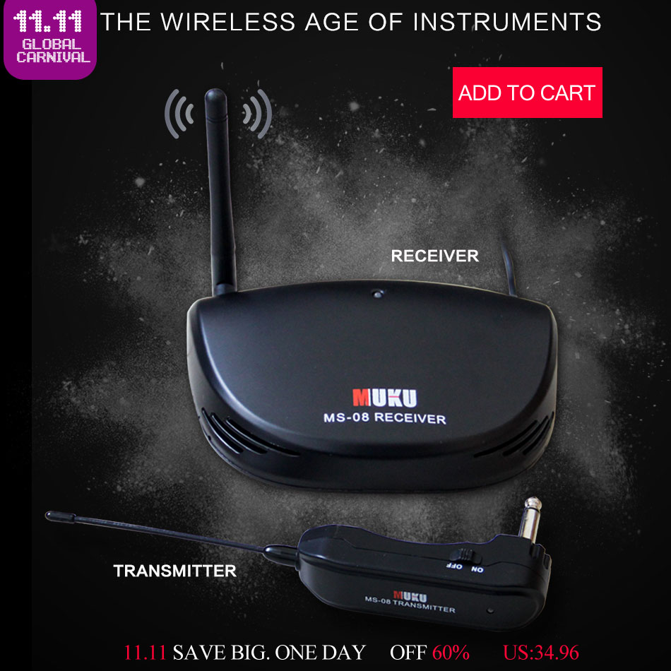 MUKU MS-08 Wireless Audio Transmission for All types of guitar & basses Guitar Accessories Wireless Electric Guitar Transmitter