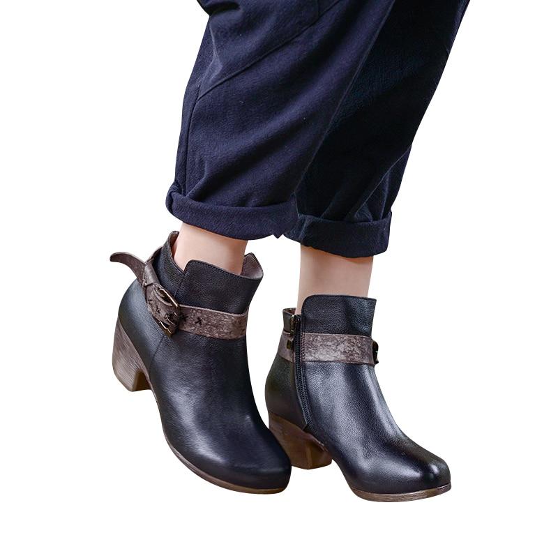 Xiangban Negro Hebilla Cuero Los Botas Altos Tacones Redonda Mujer Tobillo Las W50129 De Punta Mujeres Genuino Zapatos gTnqgxfaRr