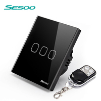 SESOO EU UK Standard Remote Control Switch 110 240v 3 Gang 1 LED Wall Lamp Switch