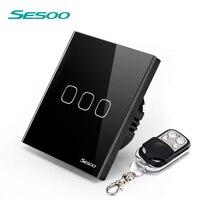 SESOO EU UK Standard Remote Control Switch 110 240v 3 Gang 1 LED Wall Lamp Switch