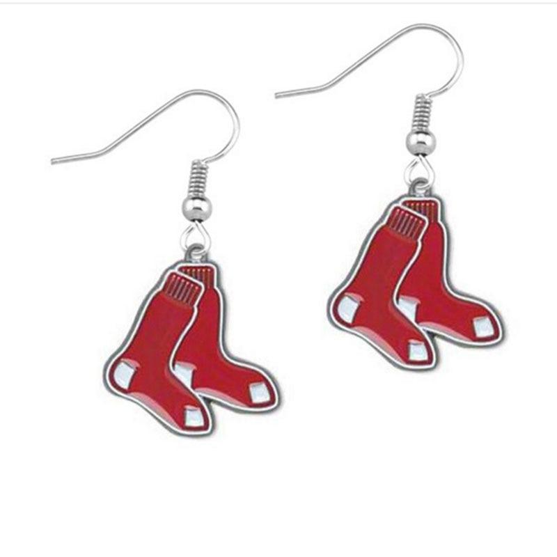 Hot 4 Styles Pink Red Enamel Boston Red Sox Baseball Team Charm Metal Drop Earrings