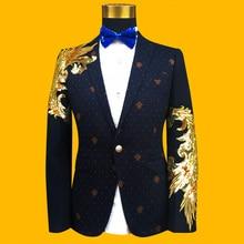 Nuevos trajes masculinos delgados Blazer azul negro oro lentejuelas bordado  moda hombres rendimiento traje escenario 10976427746