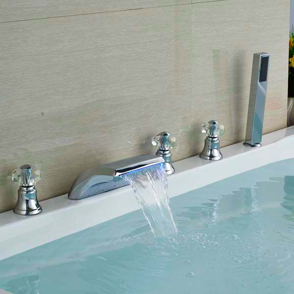 LED Waterfall Spout Bathroom Sink Faucet Basin Faucet Mixer Tap Chrome Brass