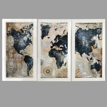 3Panel Watercolor World Map Painting HD Print on Canvas Landscape Modular Wall Sofa Cuadros Art Picture For Living Room