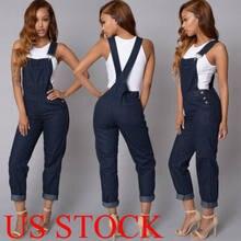 7e5650b672 EUA Mulheres Tiras de Moda Jeans Denim Calças JARDINEIRAS Macacão Macacão  Macacão Calças