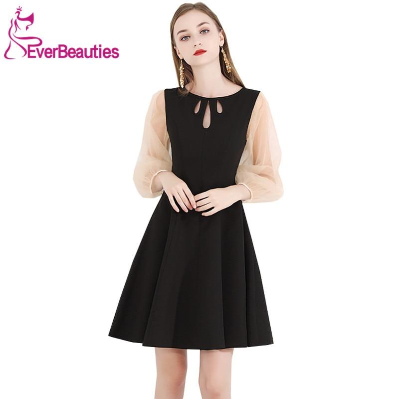 Little Black Dresses 2019 Cocktail Dresses Long Sleeves Homecoming