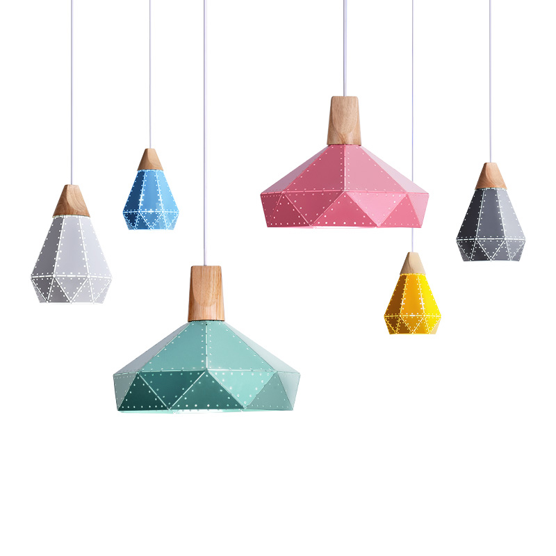 Nordic contracted hollowed-out geometry, wrought iron E27 pendant light, Suitable for home, shop decoration Home lighting nordic contracted fashion droplight optical design e27 aluminum chimney pendant light home decoration lighting