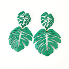 Spike Tin Alloy Vintage Rushed Limited Earings Pendientes 2019 Aretes Earrings Exaggerated Retro Large-leaf Beach E
