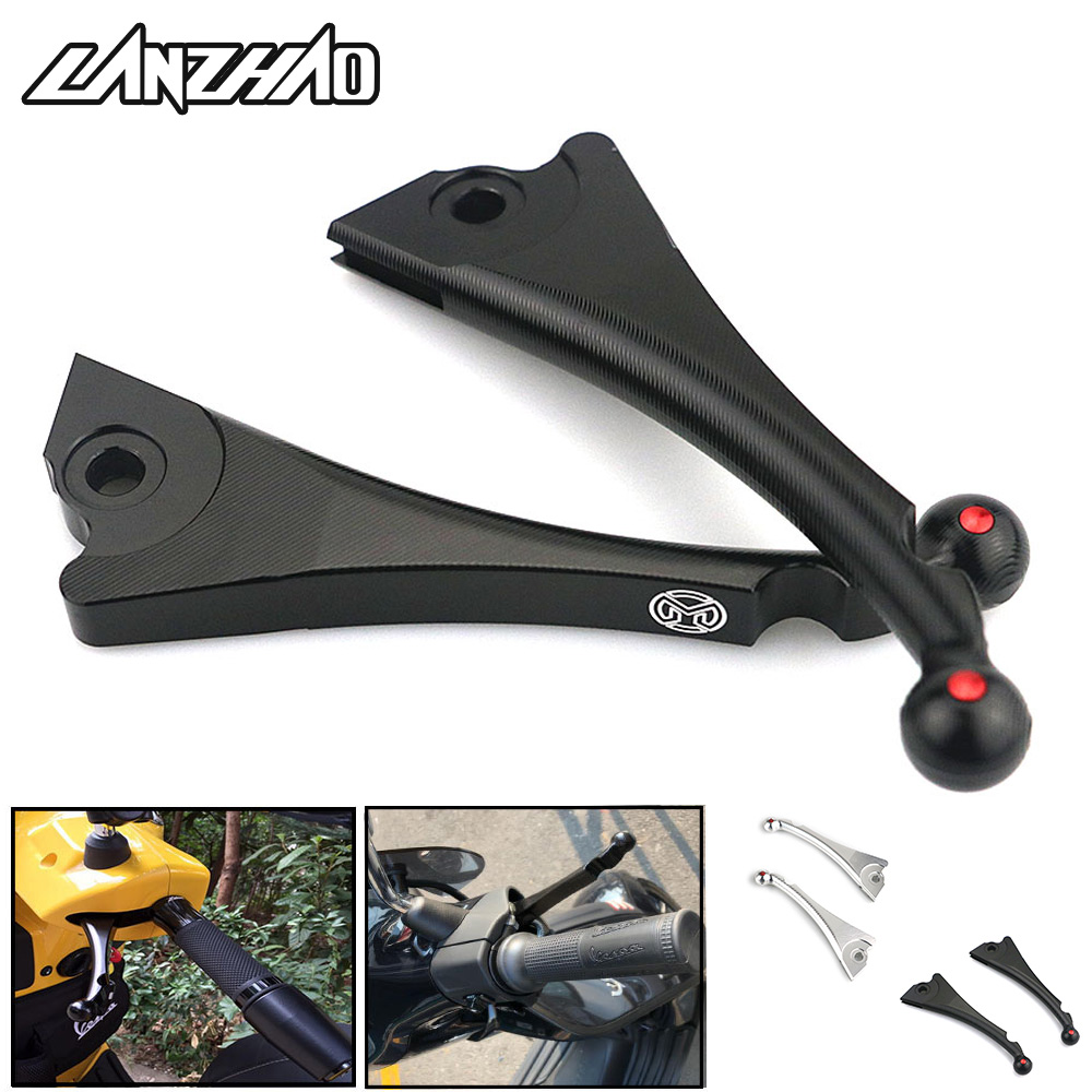 CNC Aluminum Motorcycle Front Disc Rear Drum Brakes Clutch Levers Black Silver for Piaggio Vespa GTS