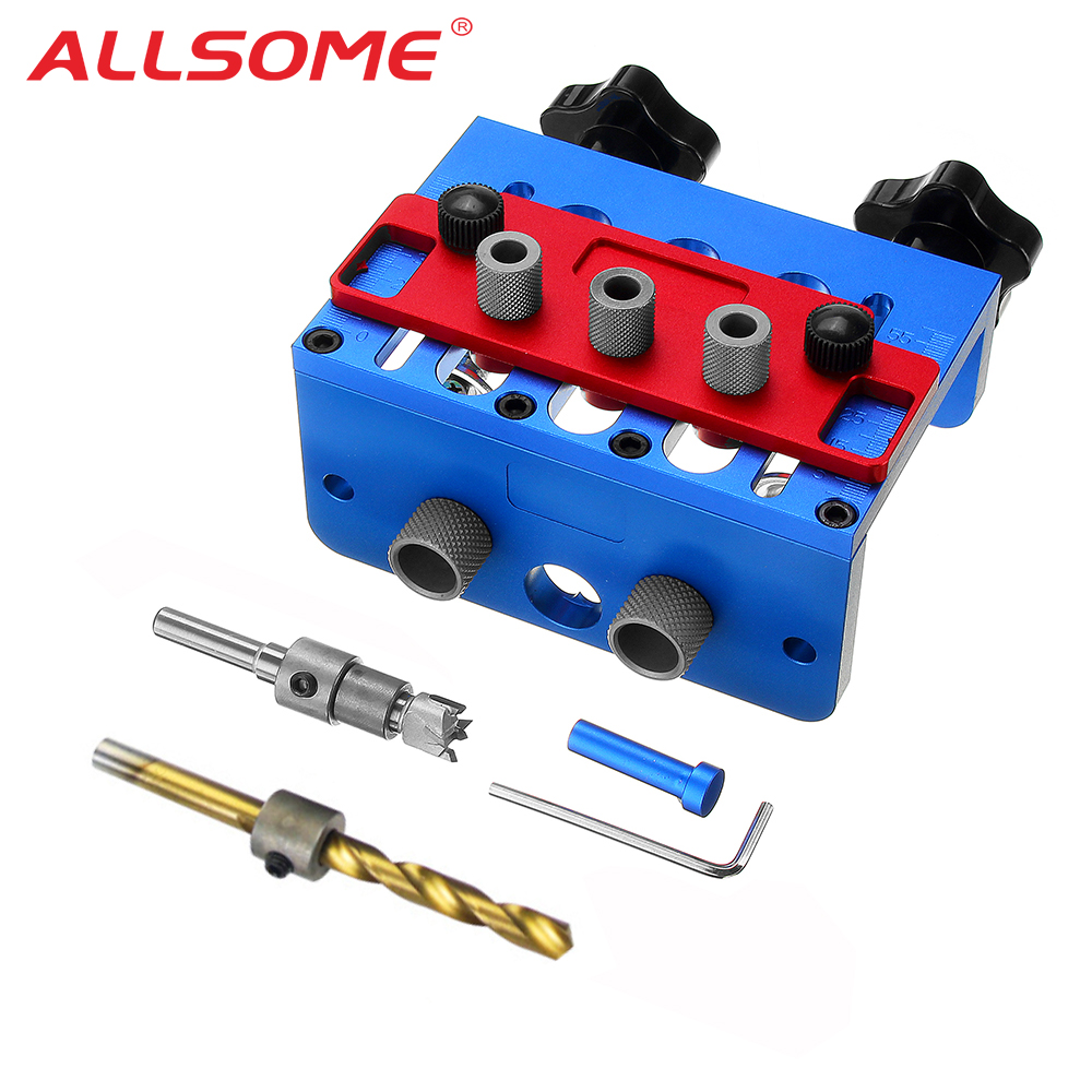 ALLSOME 3 In 1 Woodworking Drill Guide Set Hole Puncher Dowelling Jig Self Tighen Clamp Dowel Tenon Punching HT2515