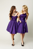 Wholesale 2013 New Hot Sale Cheap Sexy Sweetheart Purple Satin Pleated Knee Length Ruffles Bridesmaid Dresses 1815159