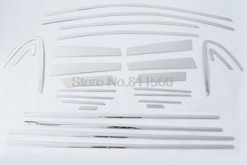 For Subaru XV Impreza Hatchback 2012 2013 Top+Bottom Center Pillar Accessories Molding Styling Full Window Sill Trim 26pcs/set