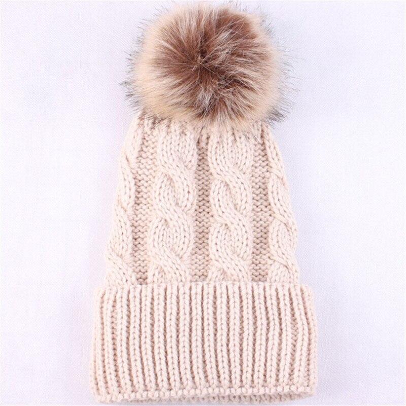 2016 New Fashion Womens Warm Wool Knitted Beanie Hats Winter Mink Raccoon Fur Pompom Hat Female Headwear Accessories Caps