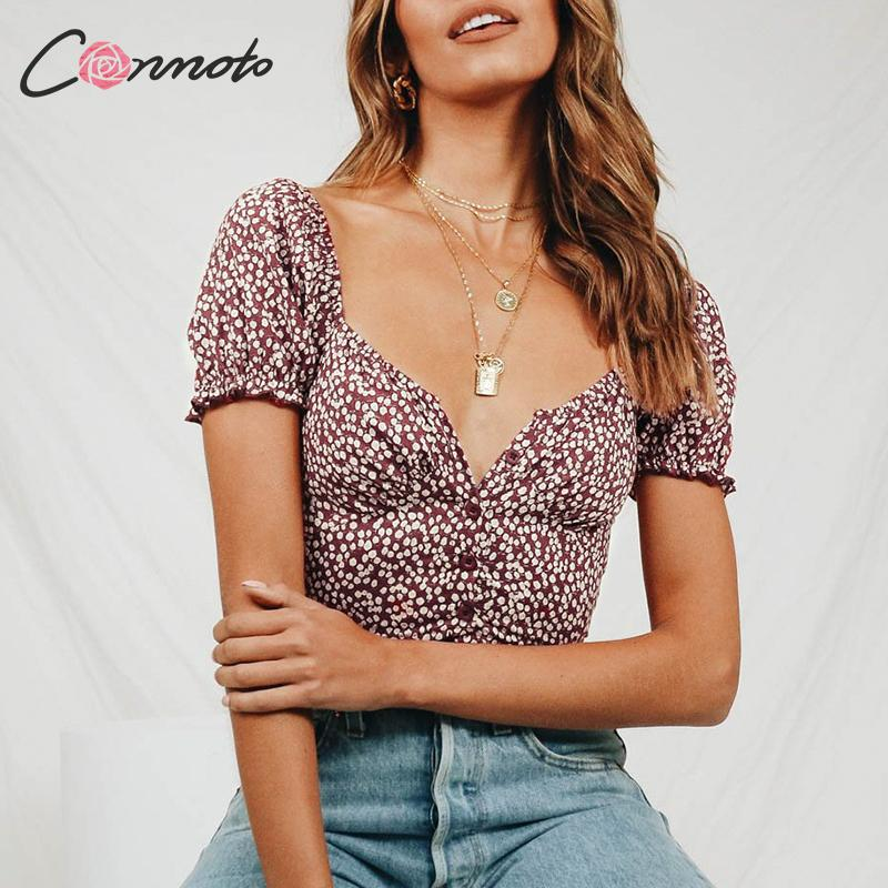 Conmoto Vintage Casual Print Women Crop Tops And Blouse 2019 Fashion Puff Sleeve Short Shirt Female Holiday Mujer Blusa Feminina