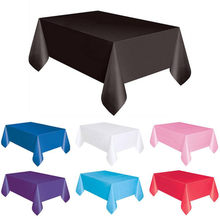 1PC 137*183cm Plastic Disposable Tablecloth Solid Color Wedding Birthday Party Table Cover Rectangle Desk Cloth Wipe Covers sale(China)