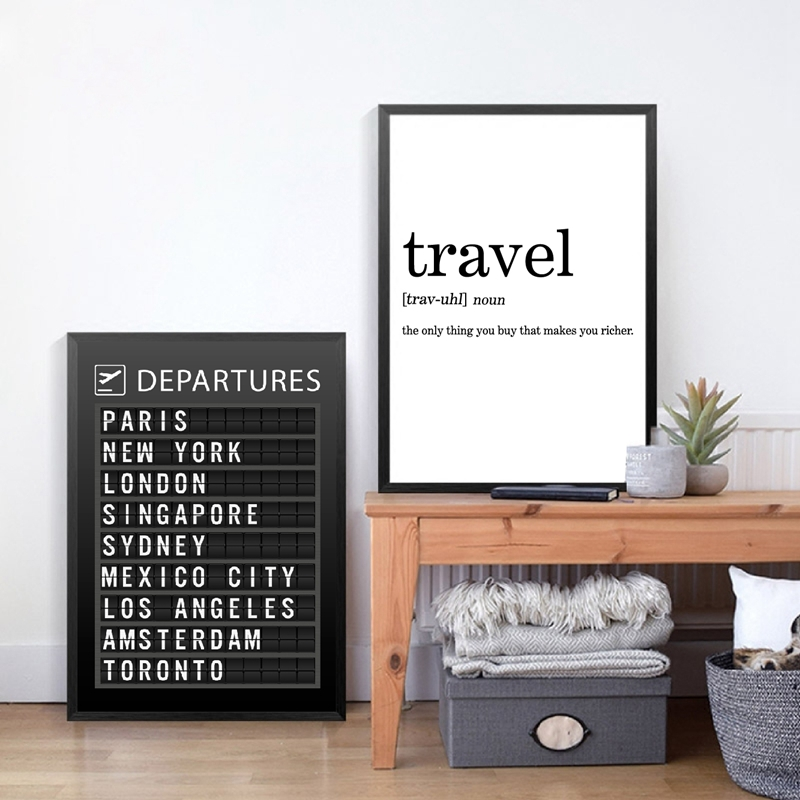 AIRPORT BOARD Destination Board Posters Canvas Prints , Travel Board Quotes Art Painting Pictures Honeymoon Travel Decoration