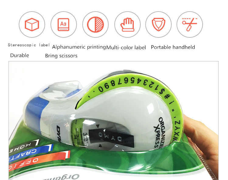Paper Cutting Machine DY 12965 Tape Printer Tag Machine 3-D Lithography Hand-held Tag Machine+5 Color Tape