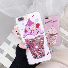 ZRICKIE Cute Ice Cream Quicksand Case for iPhone 6 Cover Shiny Glitter Hard PC Coque for iPhone 6 6S 7 Plus Dynamic Liquid Capa стоимость