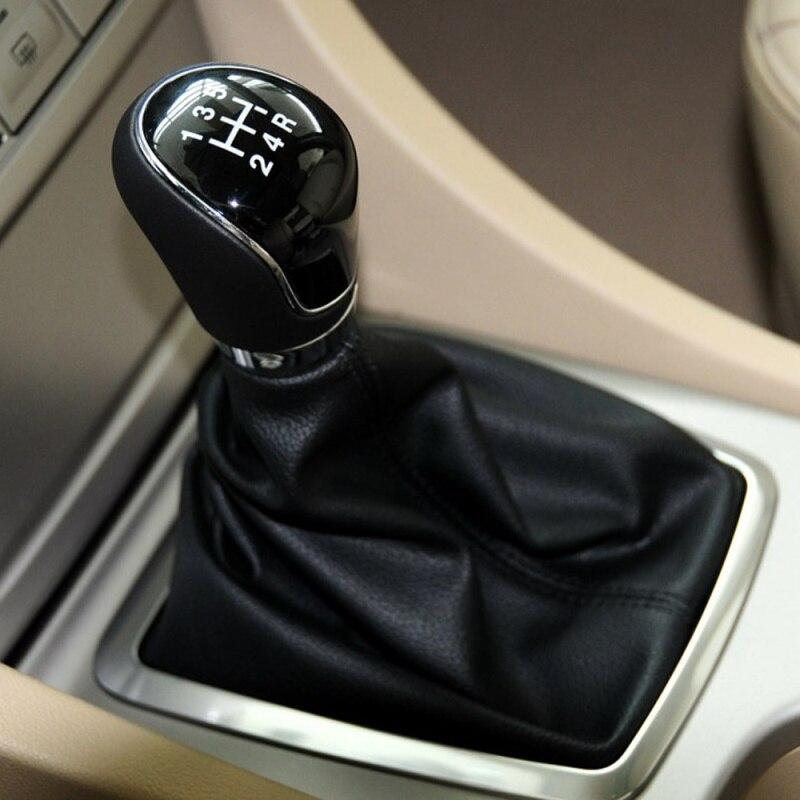 5 Speed Car PU Leather Shifter Black Stitch Stick Level Manual Automatic Shifter Head Bashineng Black Leather Gear Shift Knob