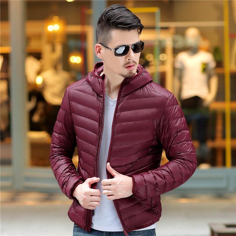 male Autumn Winter Warm   Coat   warm Ultralight Duck   Down     coats   2019 men White Duck   Down   Jackets Male Windproof hooded clothing man