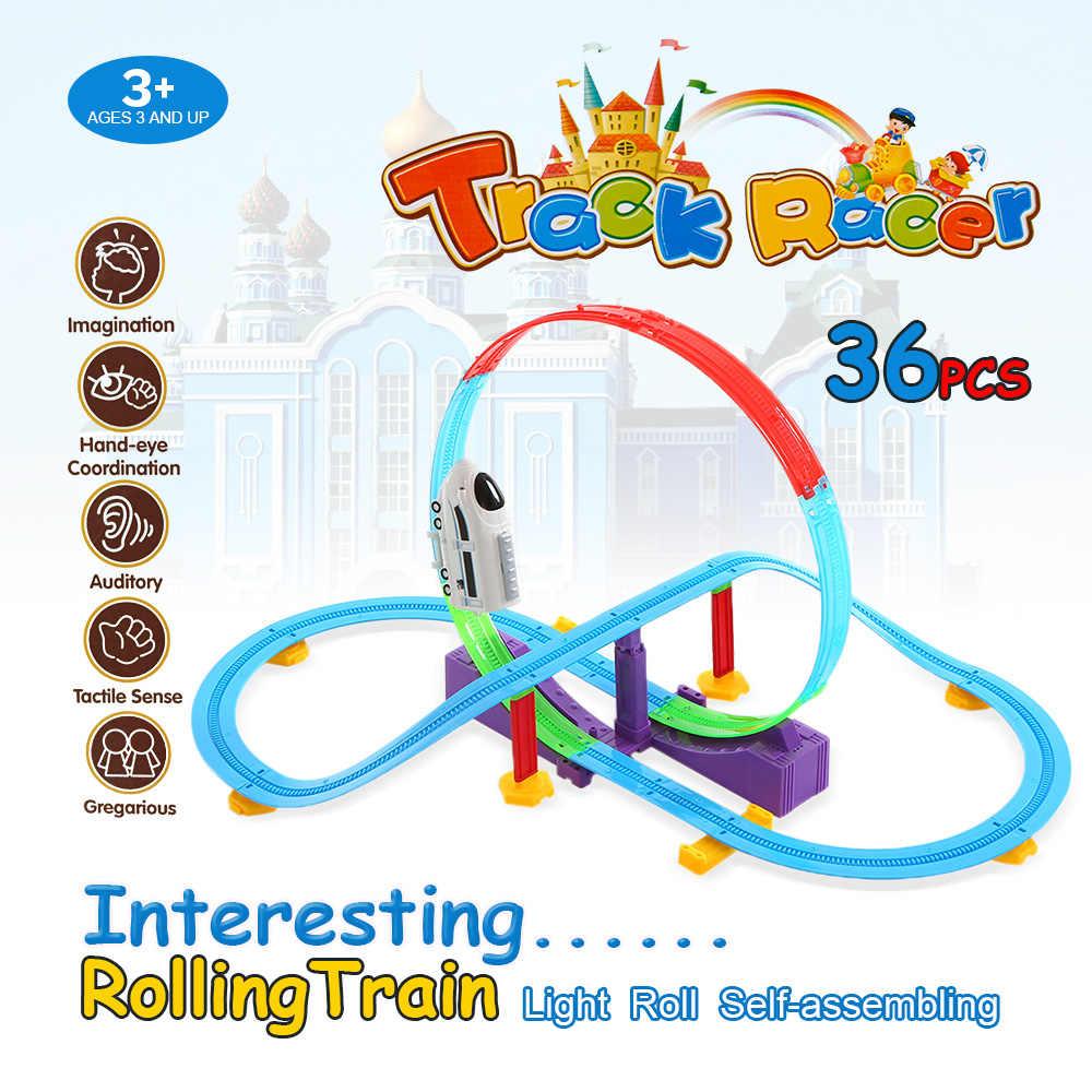 36 adet Hız Yarış Pisti Viraj Flex Meclisi oyuncak arabalar Bükülmüş Parçaları Esnek Montaj Parça Araba Tren Lokomotif Çocuklar için Hediye