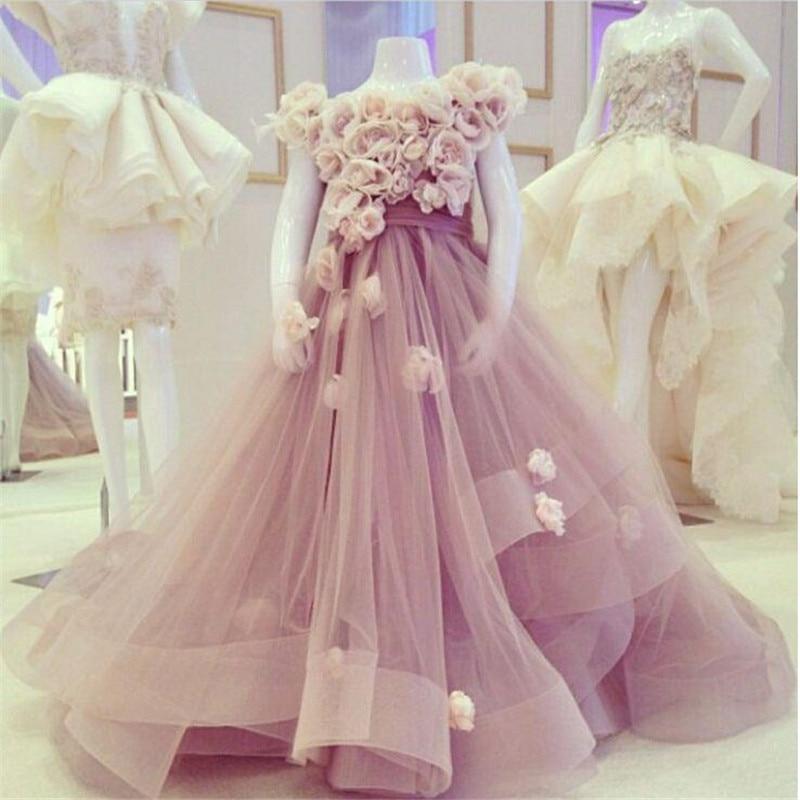 Light Purple 2019 Elegant Ball Baby Communion   Dresses   For   Girls     Flowers   Tiered Tulle   Flower     Girl     Dresses   Baby   Girl   Tutu   Dress