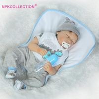 22 inch Soft Silicone Sleeping Reborn Babies Boy Doll 55cm Realistic Newborn Doll For Children Play House Toys Girls Brinquedos