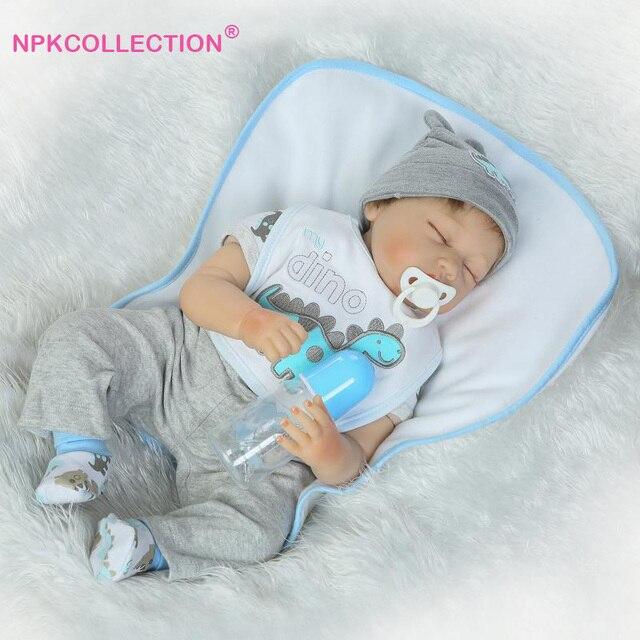 22 дюймов мягкие силиконовые спать возрождается младенцы мальчик кукла 55 см реалистичные новорожденные куклы для детей играть дома toys девушки brinquedos