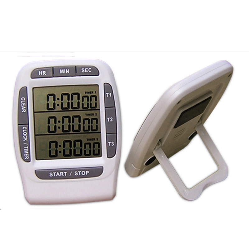 Three channel digital kitchen timer largelcdscreen kitchen timer alarm clock cooking kitchen timer free shipping
