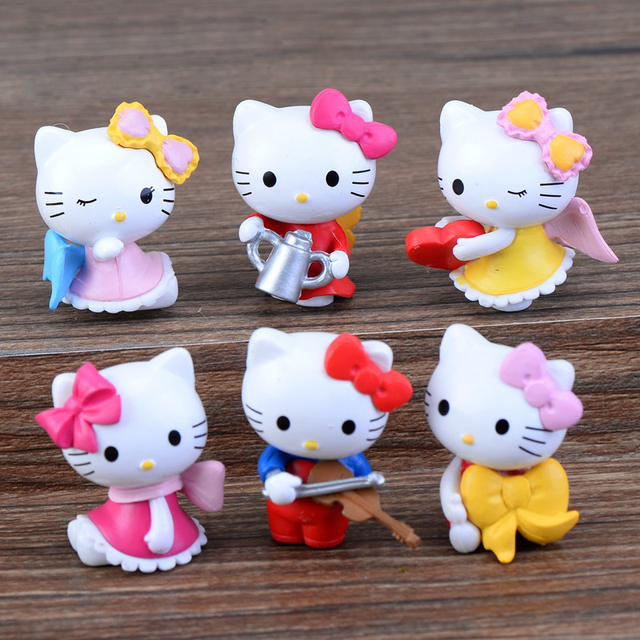 cartoon animal kawaii bowknot cat garden figures fairy garden miniatures cut cat toys miniature accessories  home decoration 1