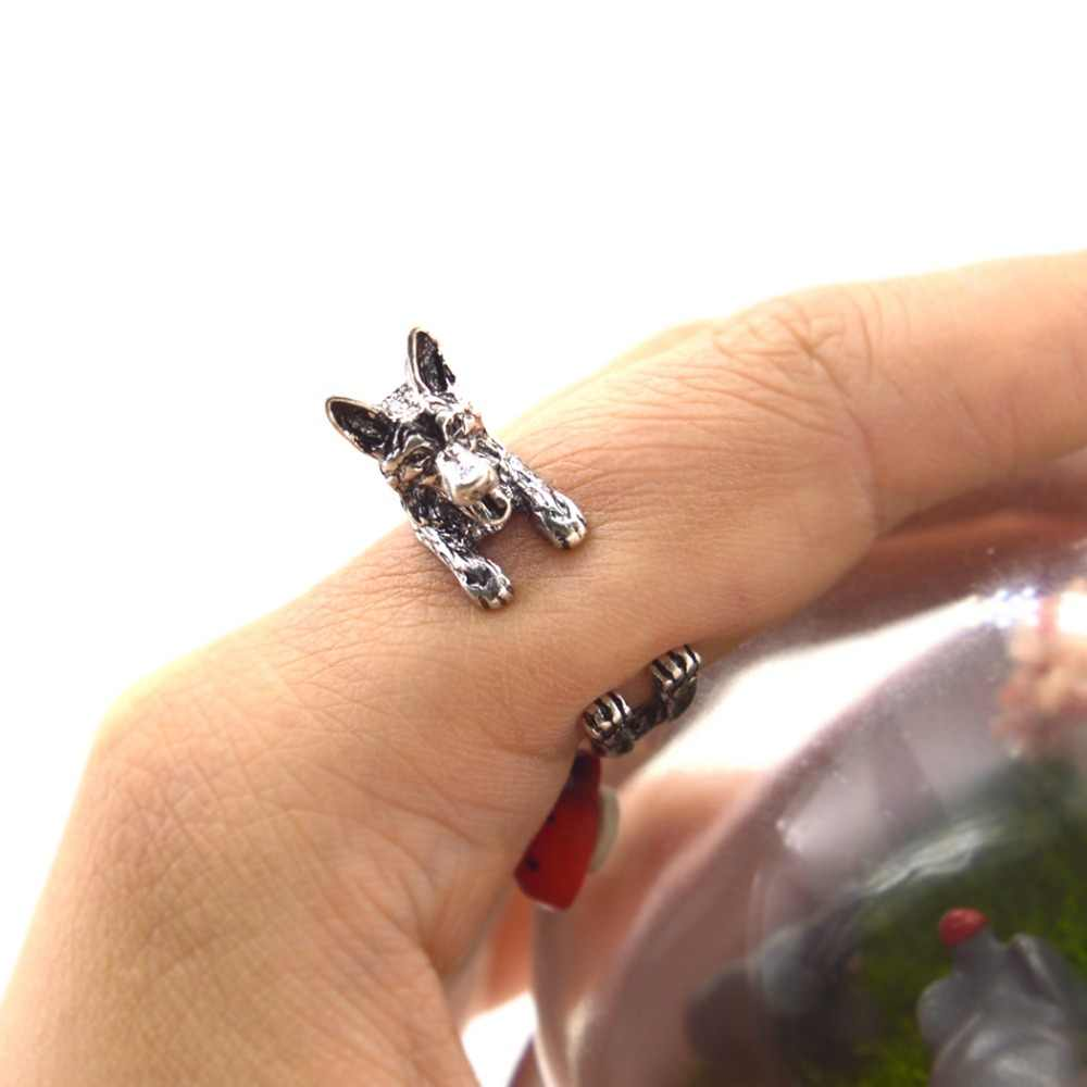 Qiamni Pecinta Hewan Peliharaan Hadiah Buatan Tangan Adjustable BoHo Chic Gembala Jerman Hewan Cincin Hadiah untuk Wanita Pria Unik Pernyataan Perhiasan