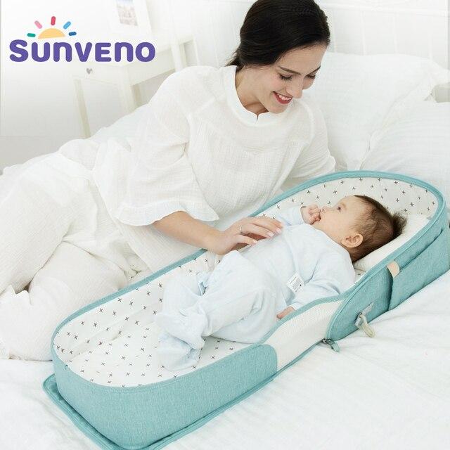 حقيبة سرير محمولة للأطفال من SUNVENO سرير قابل للطي للسفر لحديثي الولادة حقيبة حفاضات للأطفال 0-6 متر 2