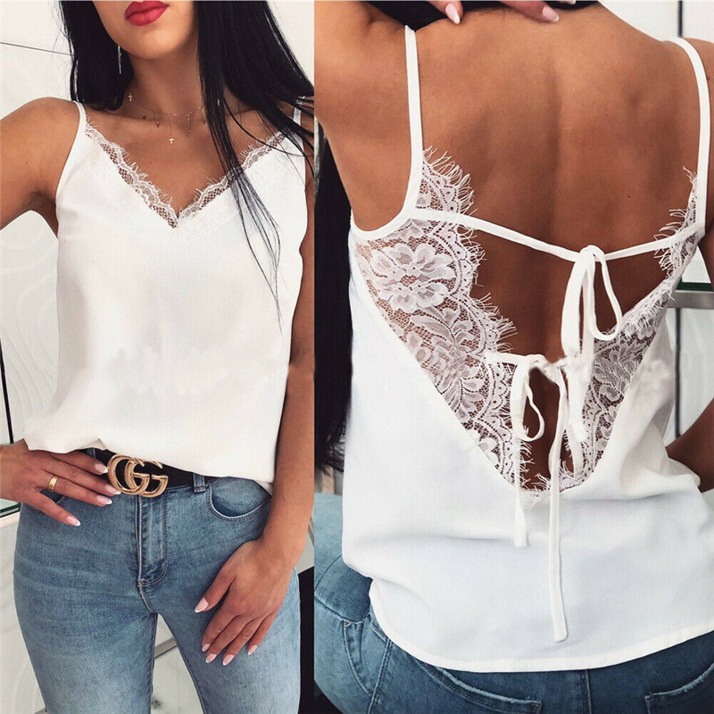 Womens Tee Lace T shirts Vest Summer 2019 Hot Sale Sexy Vest Fashion Camisole Black   Tops   Sleeveless Backless T-Shirt   Tank     Tops