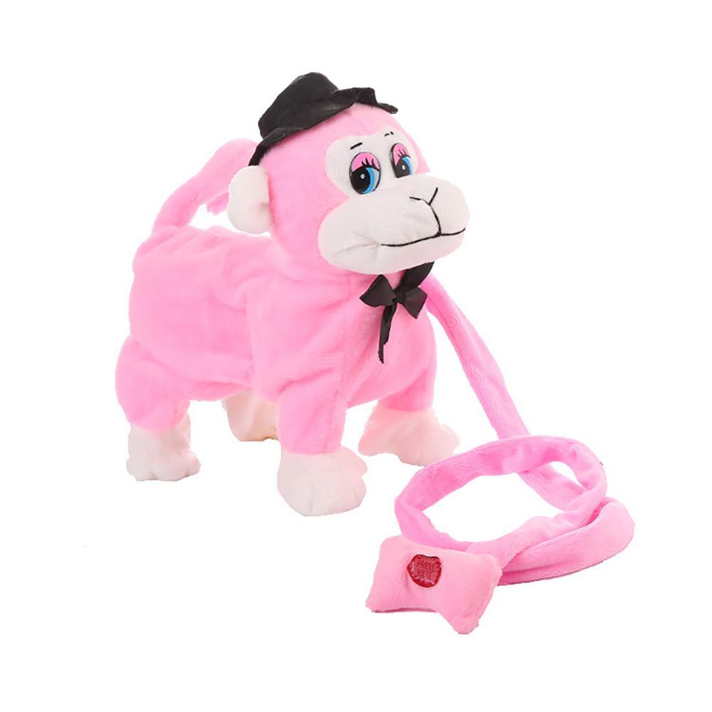 Electric Walking Dancing Plush Monkey with Leash Toddler Stuffed Animal Doll Toy 1
